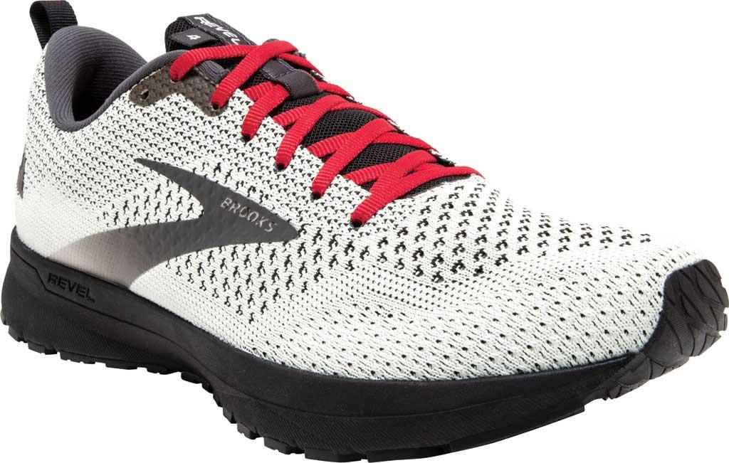 Men's Brooks Revel 4 Running Shoe, White/Black/Red, large, image 1