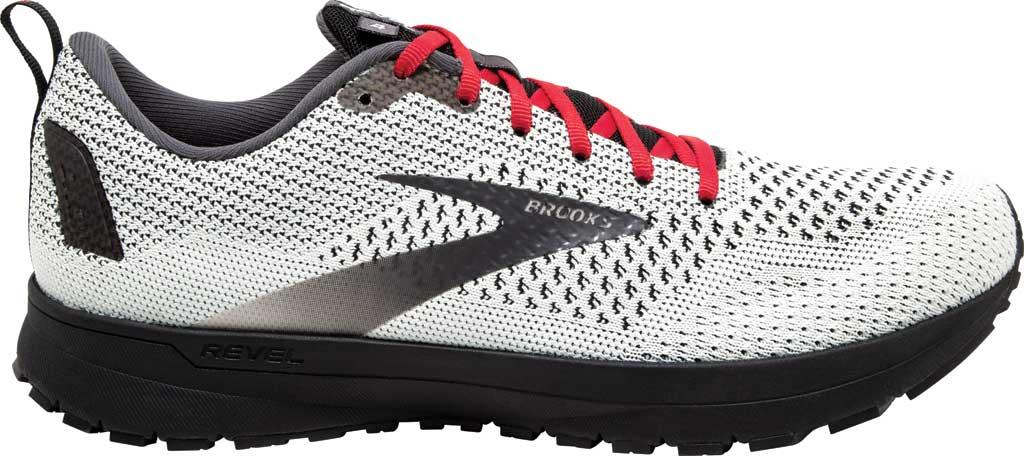 Men's Brooks Revel 4 Running Shoe, White/Black/Red, large, image 2