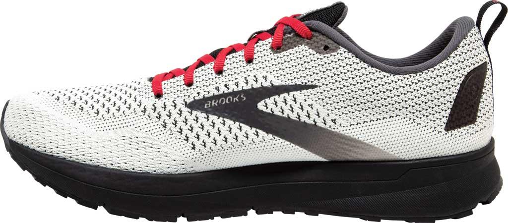 Men's Brooks Revel 4 Running Shoe, White/Black/Red, large, image 3
