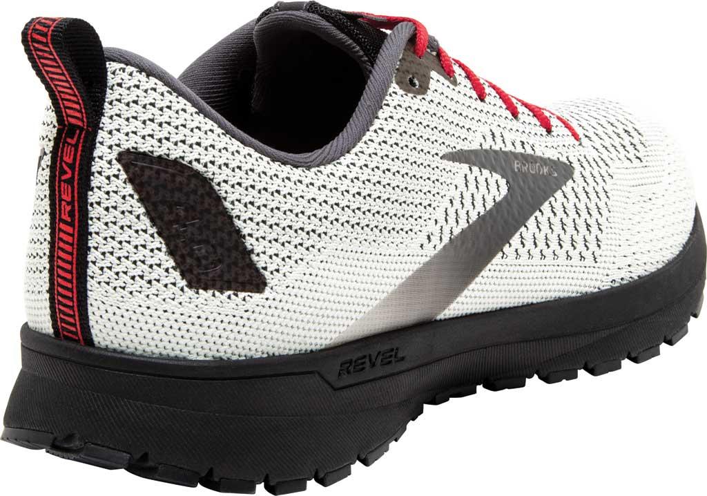 Men's Brooks Revel 4 Running Shoe, White/Black/Red, large, image 4