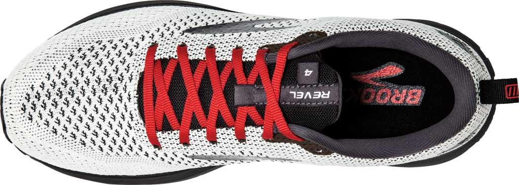 Men's Brooks Revel 4 Running Shoe, White/Black/Red, large, image 5