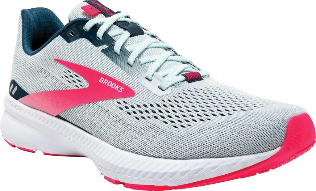 Women's Brooks Launch 8 Running Sneaker, Ice Flow/Navy/Pink, large, image 1