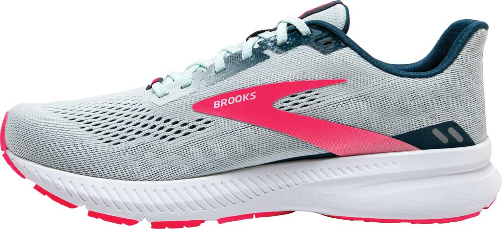 Women's Brooks Launch 8 Running Sneaker, Ice Flow/Navy/Pink, large, image 3