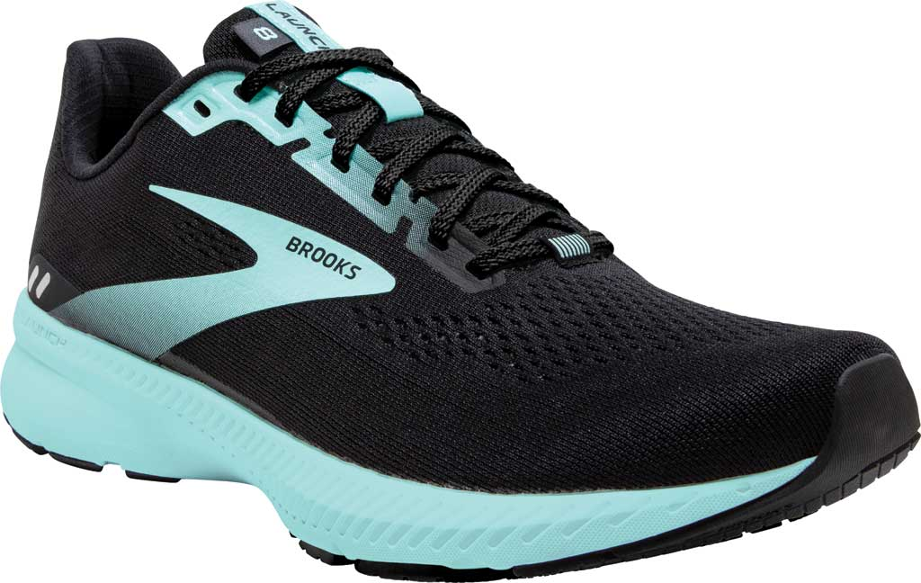 Women's Brooks Launch 8 Running Sneaker, Black/Ebony/Blue Tint, large, image 1