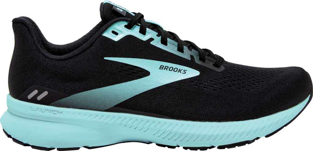 Women's Brooks Launch 8 Running Sneaker, Black/Ebony/Blue Tint, large, image 2