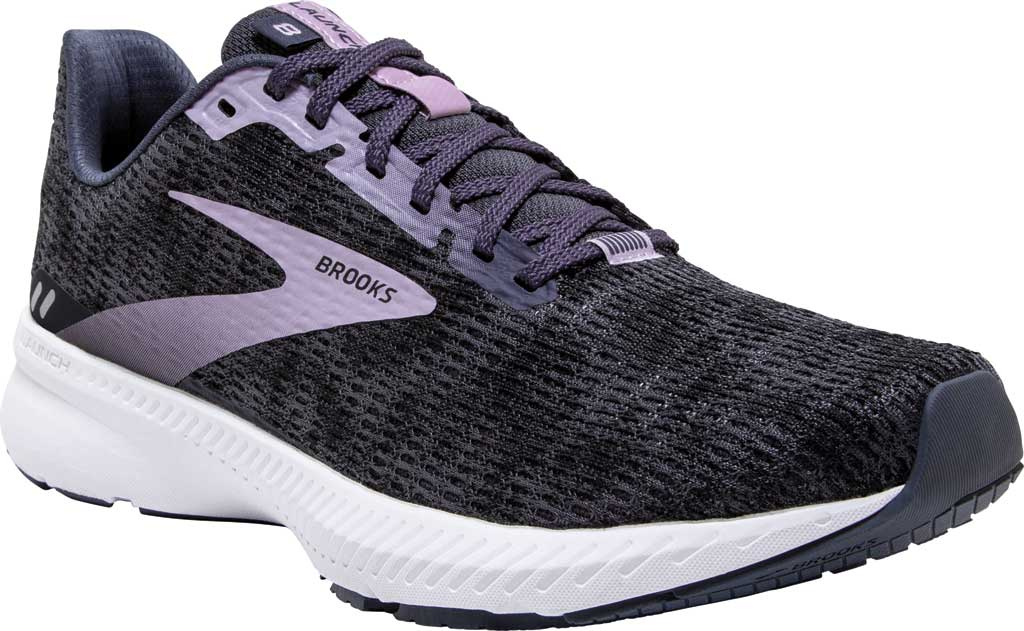 Women's Brooks Launch 8 Running Sneaker, Black/Ombre/Iris, large, image 1