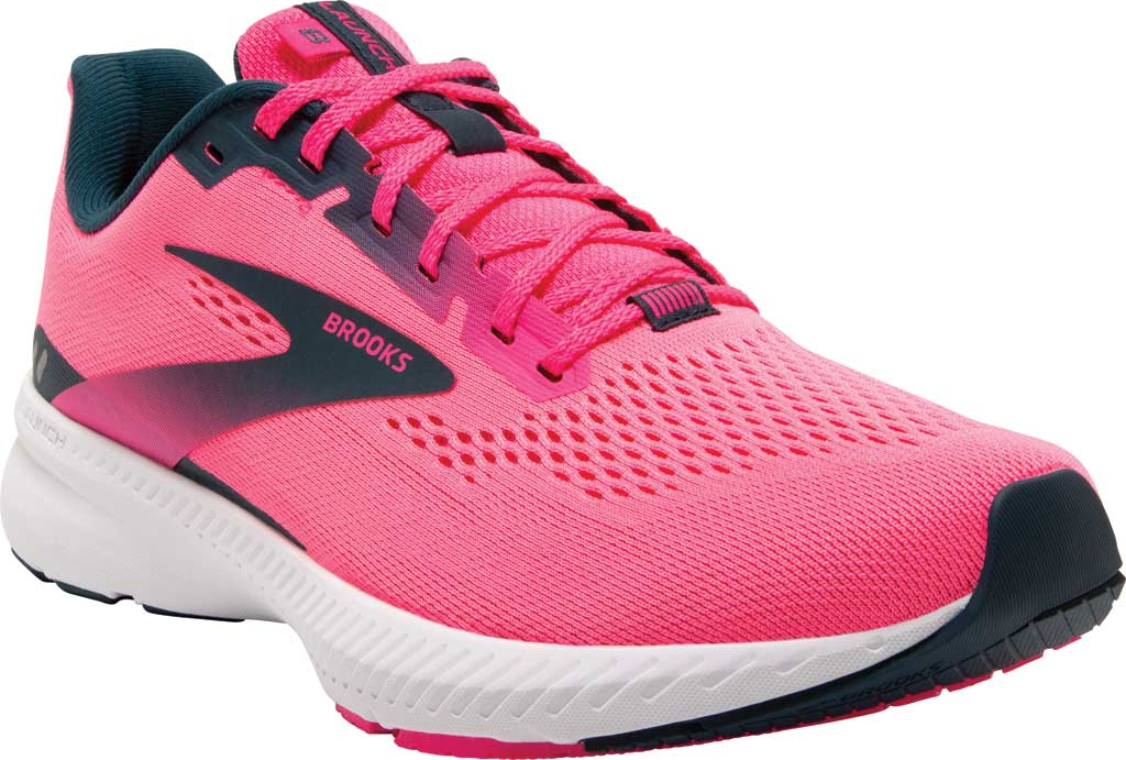 Women's Brooks Launch 8 Running Sneaker, Pink/Raspberry/Navy, large, image 1