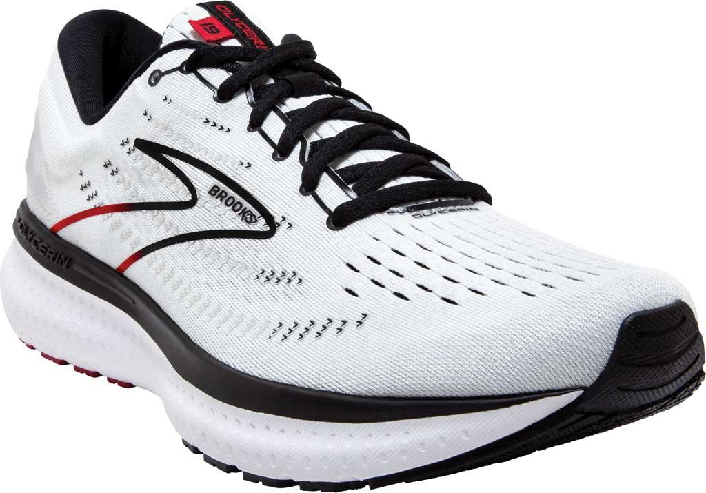 Men's Brooks Glycerin 19 Running Sneaker, White/Black/Red, large, image 1