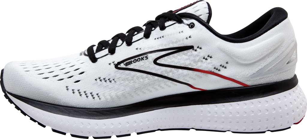 Men's Brooks Glycerin 19 Running Sneaker, White/Black/Red, large, image 3