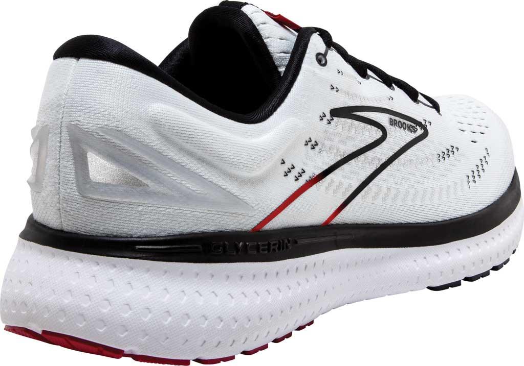 Men's Brooks Glycerin 19 Running Sneaker, White/Black/Red, large, image 4