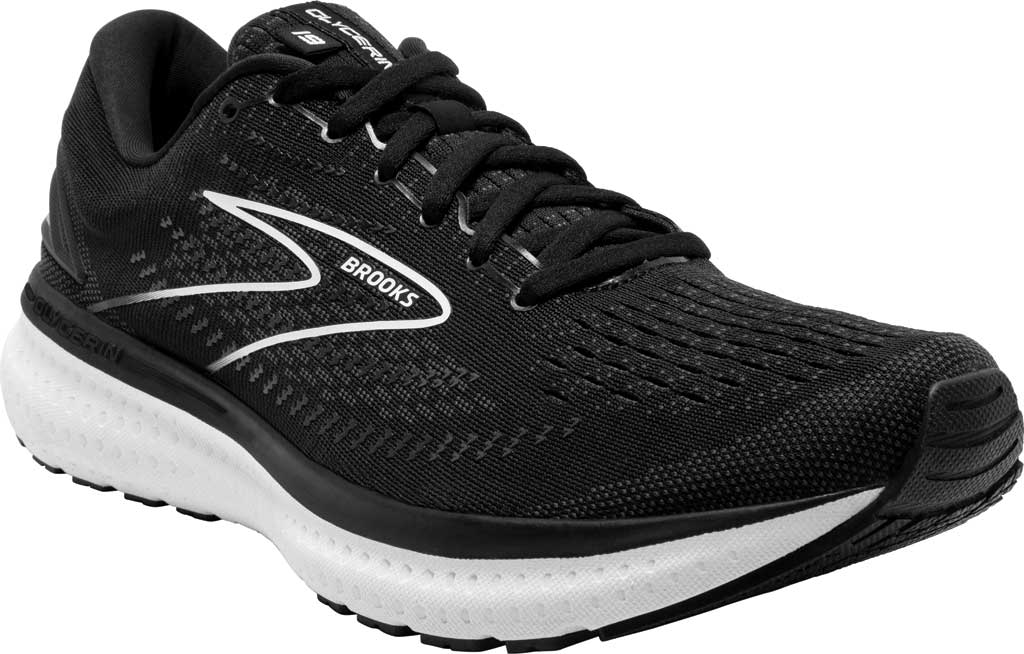 Men's Brooks Glycerin 19 Running Sneaker, Black/White, large, image 1