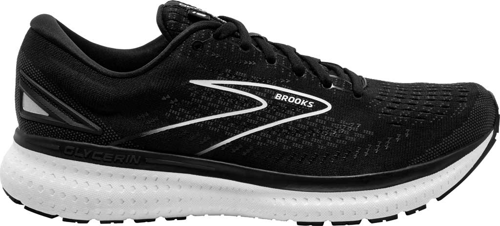 Men's Brooks Glycerin 19 Running Sneaker, Black/White, large, image 2