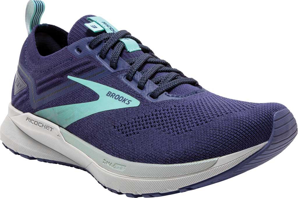 Women's Brooks Ricochet 3 Running Sneaker, Peacoat/Ribbon/Blue Tint, large, image 1
