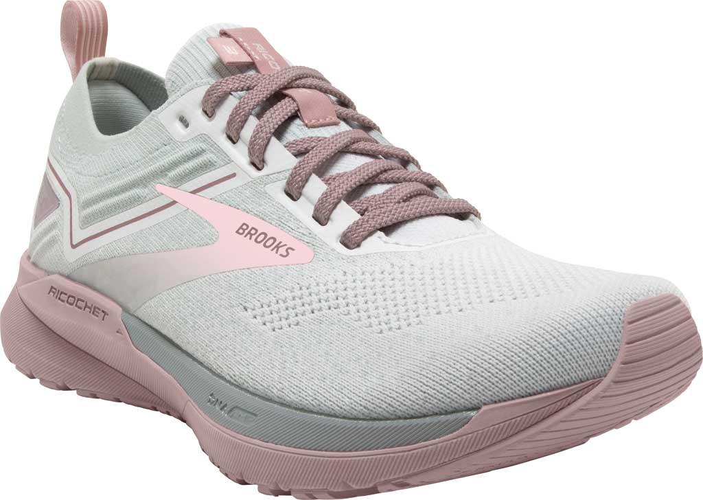 Women's Brooks Ricochet 3 Running Sneaker, White/Ice/Primrose Pink, large, image 1