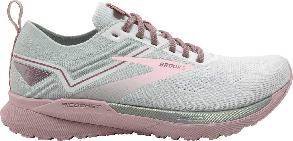 Women's Brooks Ricochet 3 Running Sneaker, White/Ice/Primrose Pink, large, image 2