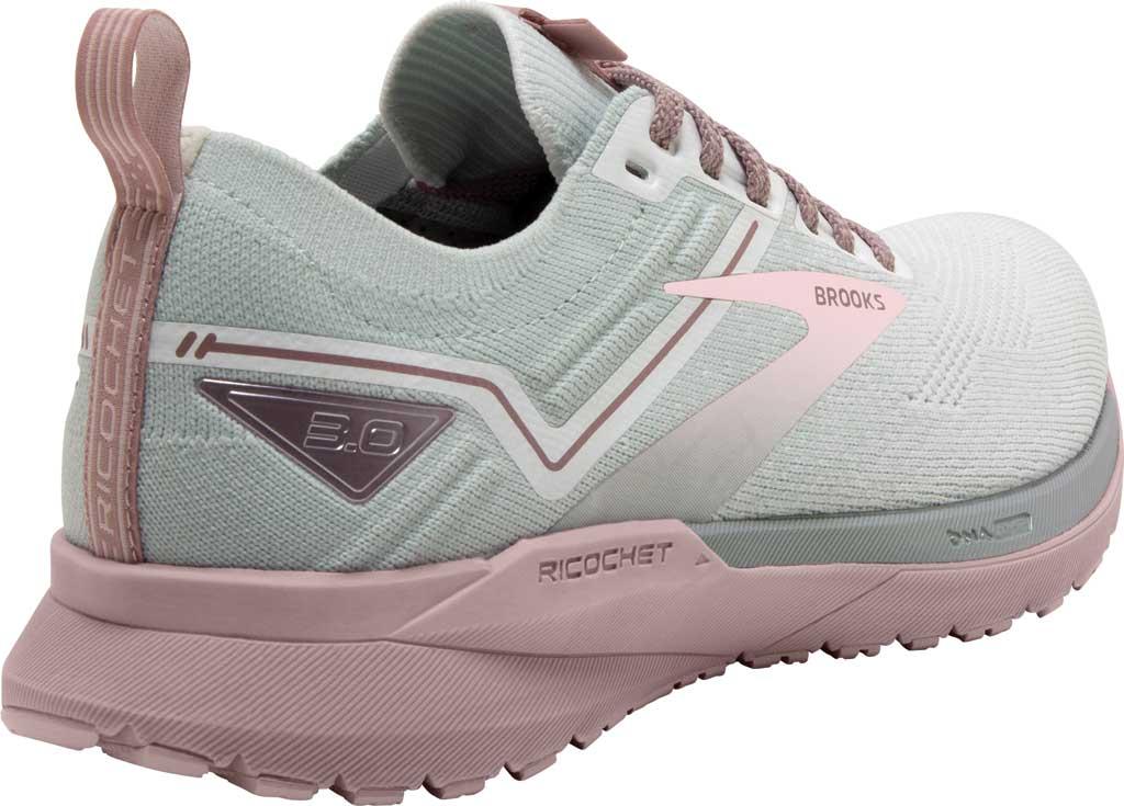 Women's Brooks Ricochet 3 Running Sneaker, White/Ice/Primrose Pink, large, image 4