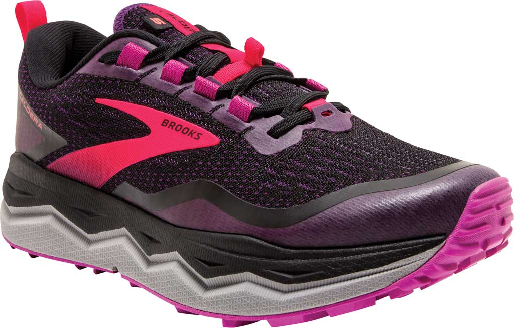 Women's Brooks Caldera 5 Trail Running Sneaker, Black/Fuchsia/Purple, large, image 1