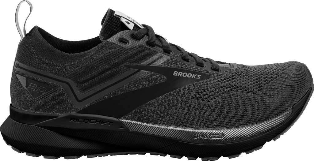 Men's Brooks Ricochet 3 Running Sneaker, Ebony/Blackened Pearl/Black, large, image 2