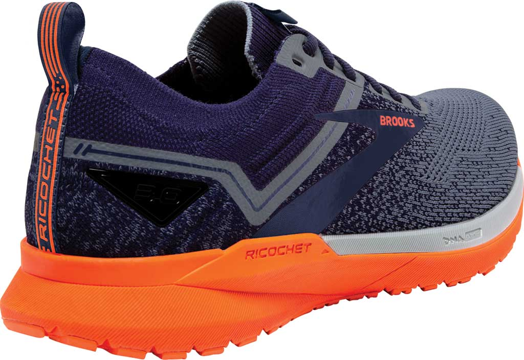 Men's Brooks Ricochet 3 Running Sneaker, Navy/Grey/Scarlet, large, image 4