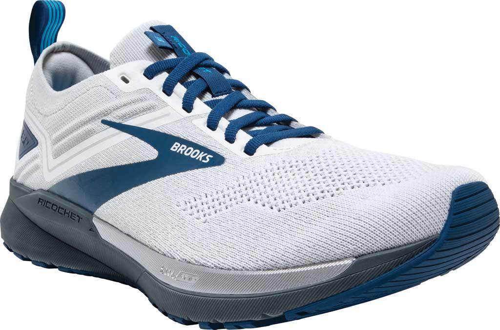 Men's Brooks Ricochet 3 Running Sneaker, White/Grey/Blue, large, image 1