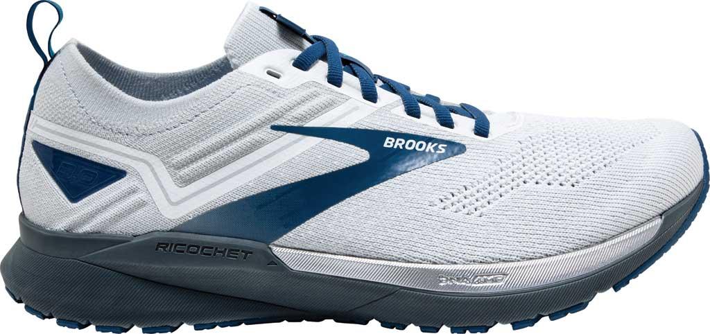 Men's Brooks Ricochet 3 Running Sneaker, White/Grey/Blue, large, image 2