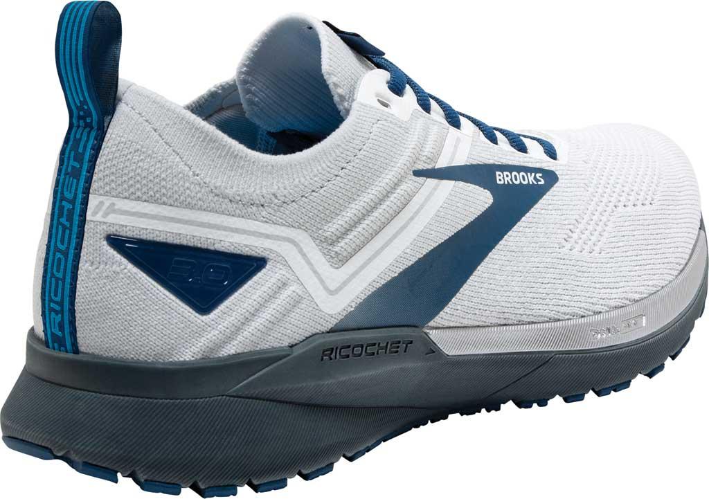 Men's Brooks Ricochet 3 Running Sneaker, White/Grey/Blue, large, image 4