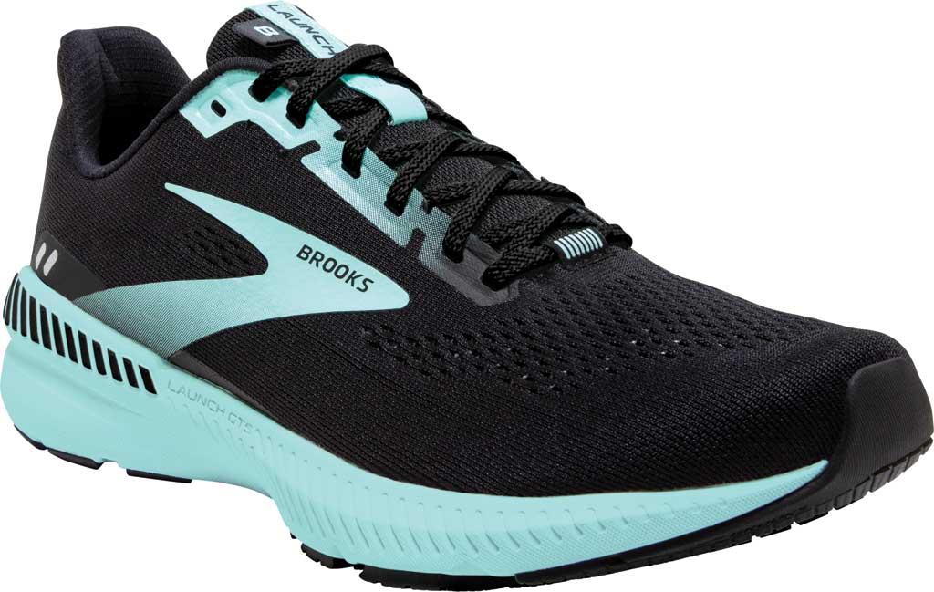 Women's Brooks Launch GTS 8 Running Sneaker, Black/Ebony/Blue Tint, large, image 1