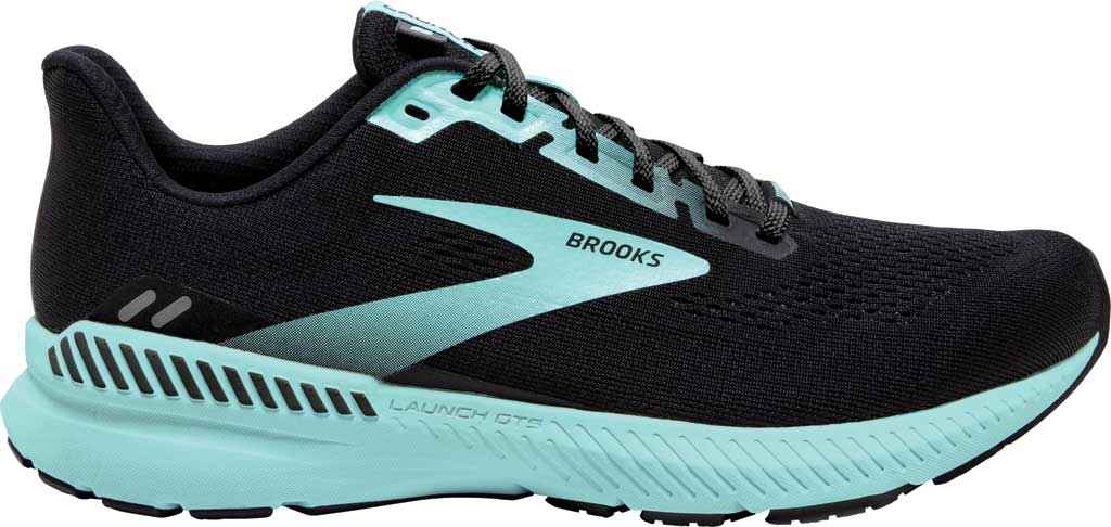 Women's Brooks Launch GTS 8 Running Sneaker, Black/Ebony/Blue Tint, large, image 2