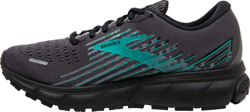 Women's Brooks Ghost 13 GORE-TEX Running Sneaker, Black/Black/Peacock, large, image 3
