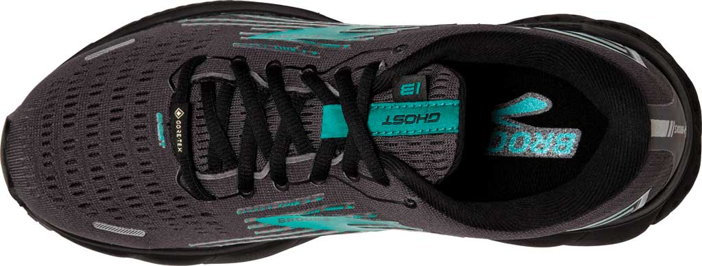Women's Brooks Ghost 13 GORE-TEX Running Sneaker, Black/Black/Peacock, large, image 5