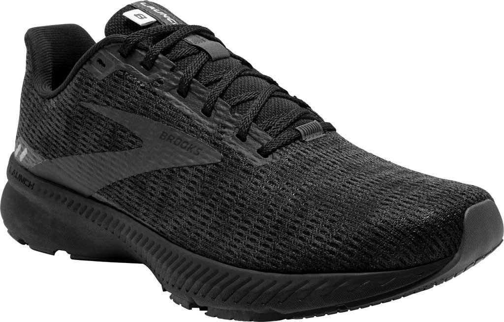 Men's Brooks Launch 8 Running Sneaker, Black/Ebony/Grey, large, image 1