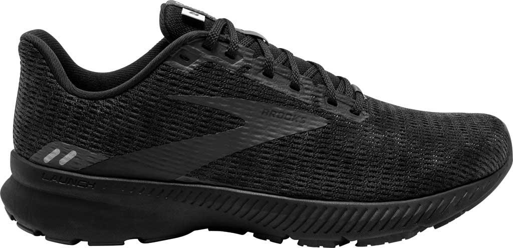 Men's Brooks Launch 8 Running Sneaker, Black/Ebony/Grey, large, image 2