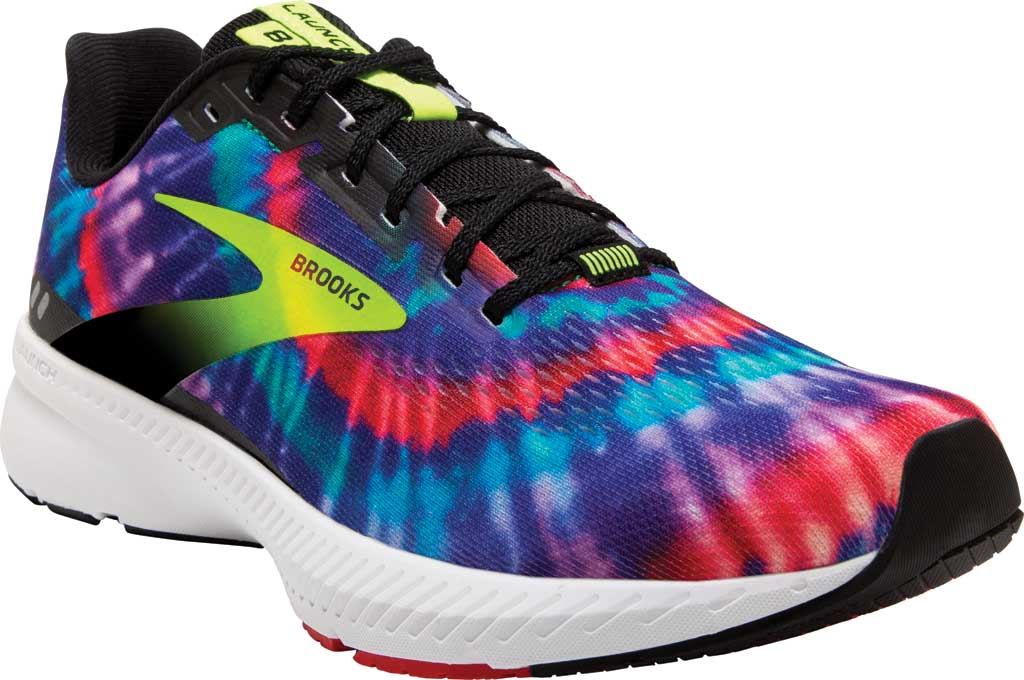 Men's Brooks Launch 8 Running Sneaker, Black/Nightlife/Red (Tie Dye), large, image 1
