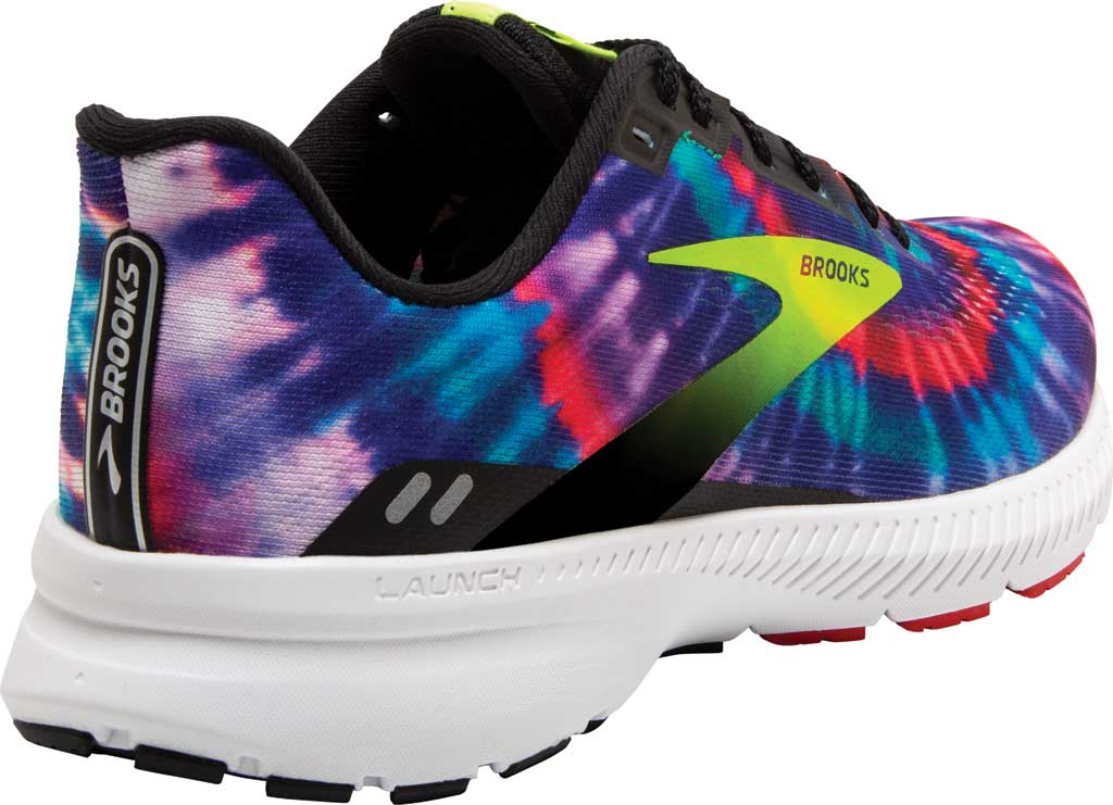 Men's Brooks Launch 8 Running Sneaker, Black/Nightlife/Red (Tie Dye), large, image 4