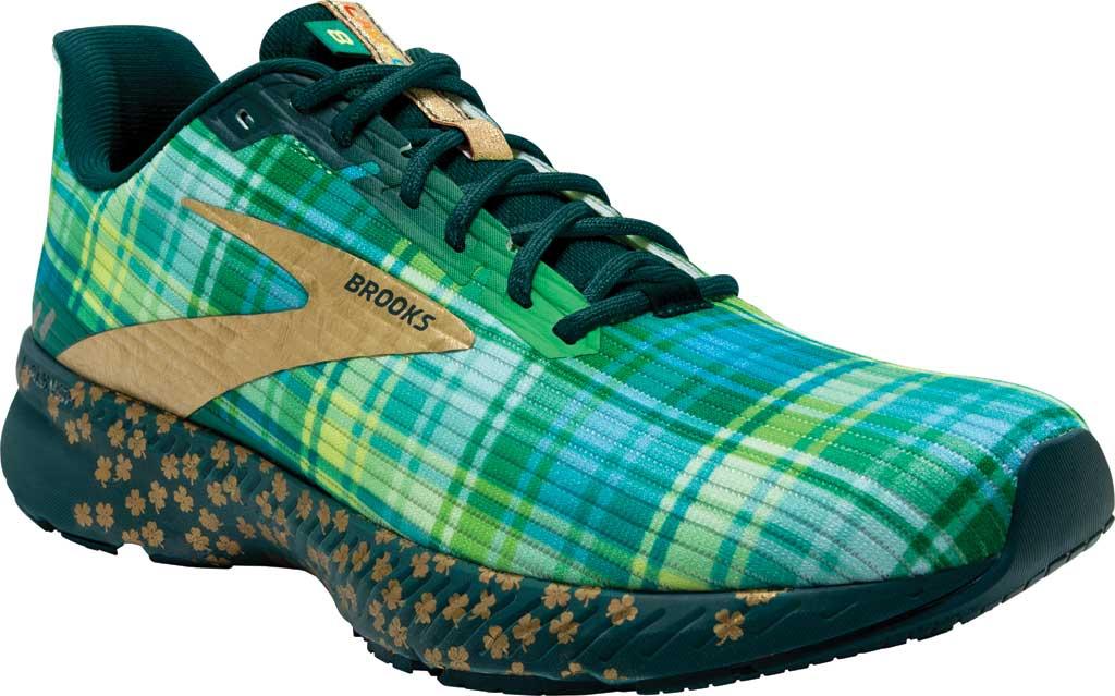 Men's Brooks Launch 8 Running Sneaker, Fern Green/Metallic/Gold/Deep Teal, large, image 1