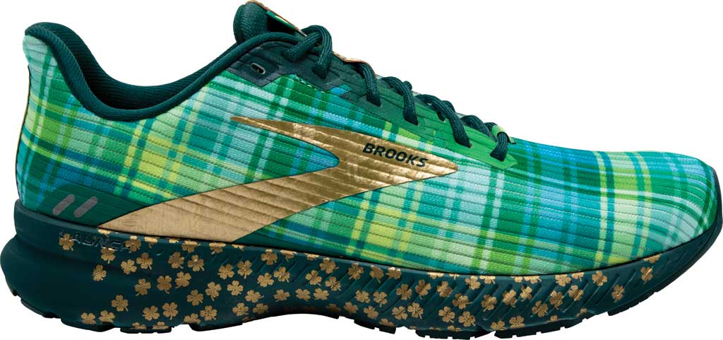 Men's Brooks Launch 8 Running Sneaker, Fern Green/Metallic/Gold/Deep Teal, large, image 2