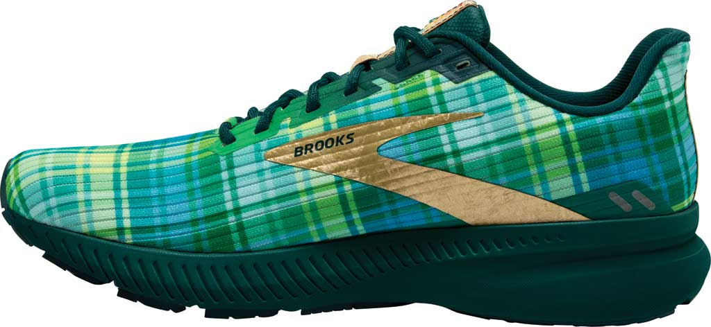 Men's Brooks Launch 8 Running Sneaker, Fern Green/Metallic/Gold/Deep Teal, large, image 3