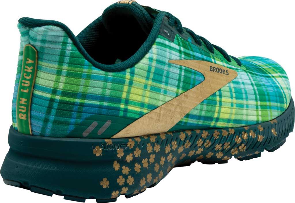 Men's Brooks Launch 8 Running Sneaker, Fern Green/Metallic/Gold/Deep Teal, large, image 4