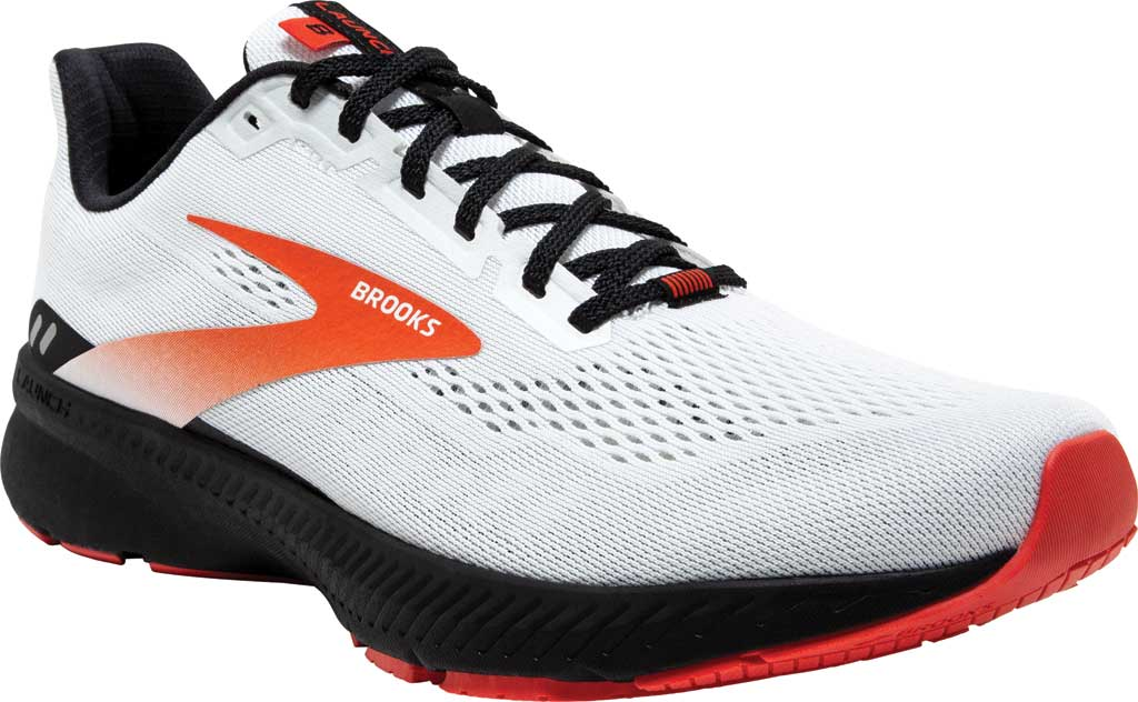 Men's Brooks Launch 8 Running Sneaker, White/Black/Red Clay, large, image 1