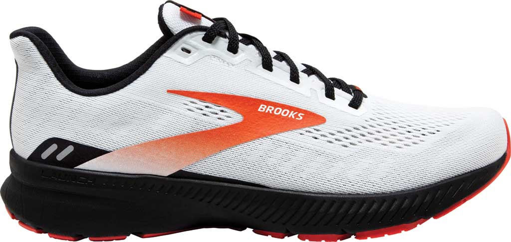 Men's Brooks Launch 8 Running Sneaker, White/Black/Red Clay, large, image 2