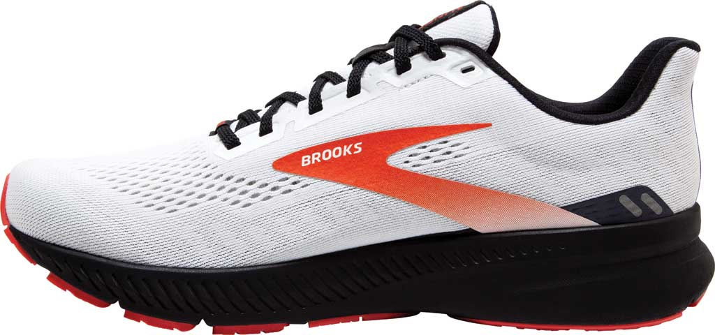 Men's Brooks Launch 8 Running Sneaker, White/Black/Red Clay, large, image 3