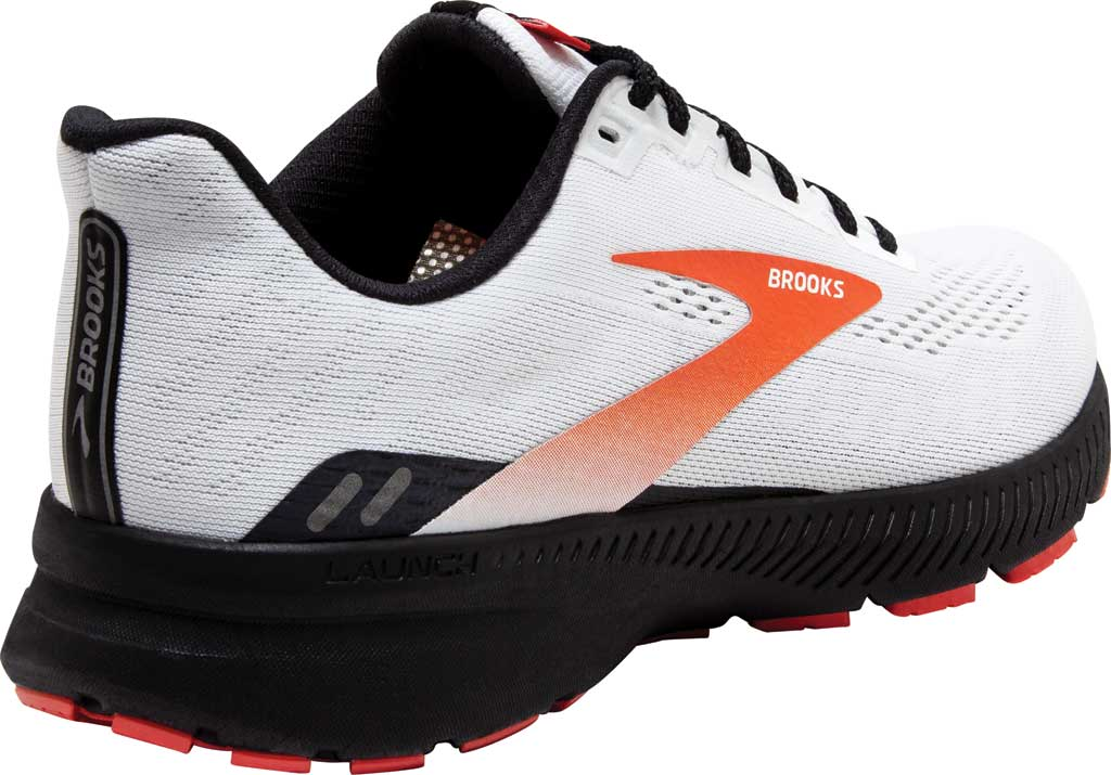 Men's Brooks Launch 8 Running Sneaker, White/Black/Red Clay, large, image 4