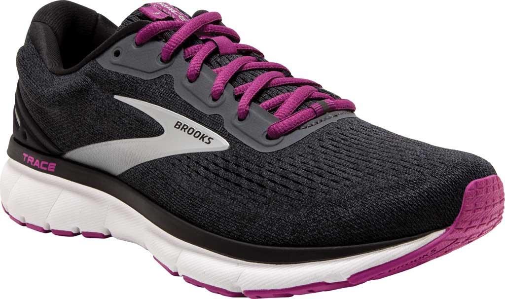 Women's Brooks Trace Running Sneaker, Ebony/Black/Wood Violet, large, image 1