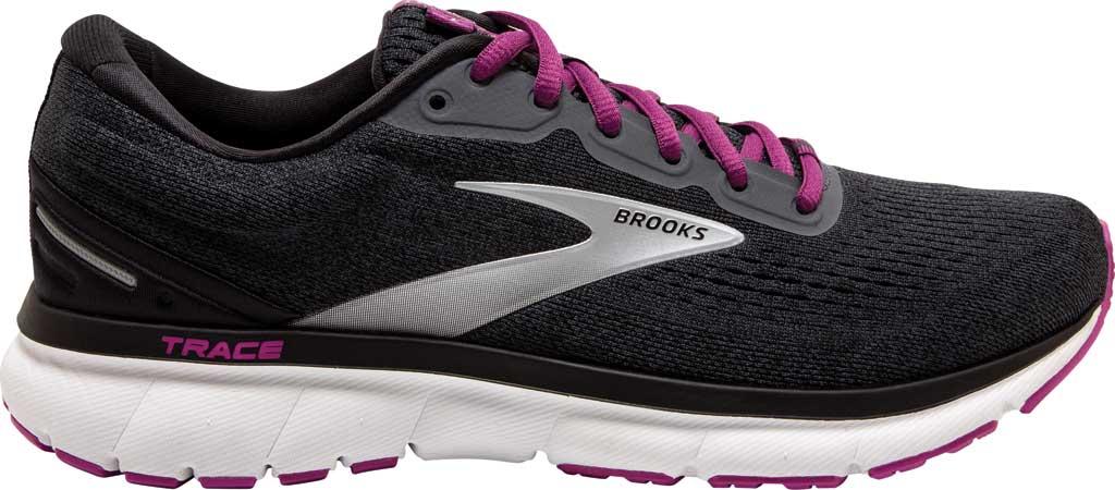 Women's Brooks Trace Running Sneaker, Ebony/Black/Wood Violet, large, image 2