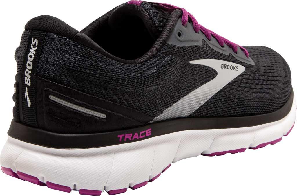 Women's Brooks Trace Running Sneaker, Ebony/Black/Wood Violet, large, image 4