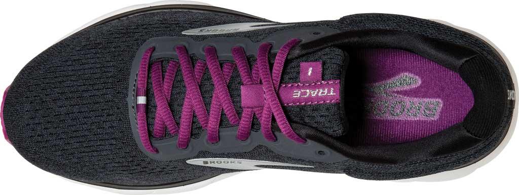 Women's Brooks Trace Running Sneaker, Ebony/Black/Wood Violet, large, image 5