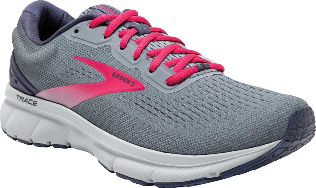 Women's Brooks Trace Running Sneaker, Grey/Nightshadow/Raspberry, large, image 1
