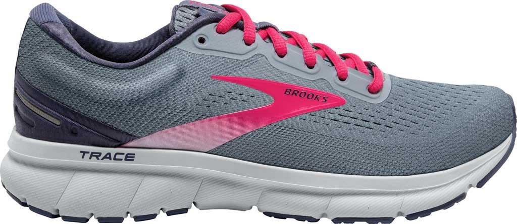 Women's Brooks Trace Running Sneaker, Grey/Nightshadow/Raspberry, large, image 2