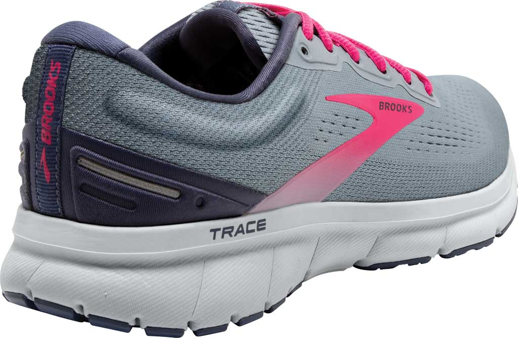 Women's Brooks Trace Running Sneaker, Grey/Nightshadow/Raspberry, large, image 4