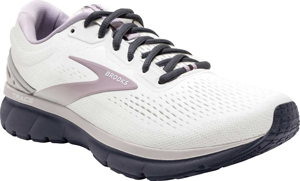 Women's Brooks Trace Running Sneaker, White/Grey/Ombre Blue, large, image 1